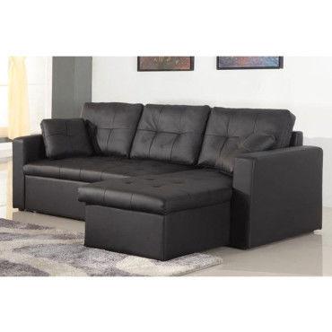 canap angle droit convertible pu noir anglet conforama. Black Bedroom Furniture Sets. Home Design Ideas