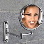 Miroir cosmétique avec support mural en laiton massif et rotation 360 degrés