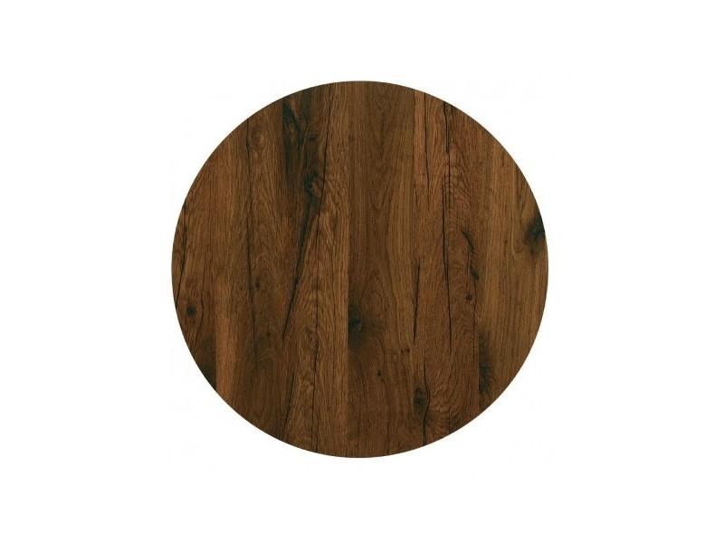 Plateau de table rond 800 mm werzalit chêne antique