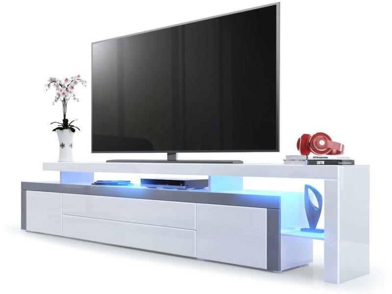 Meuble tv blanc / gris laqué 227 cm avec led