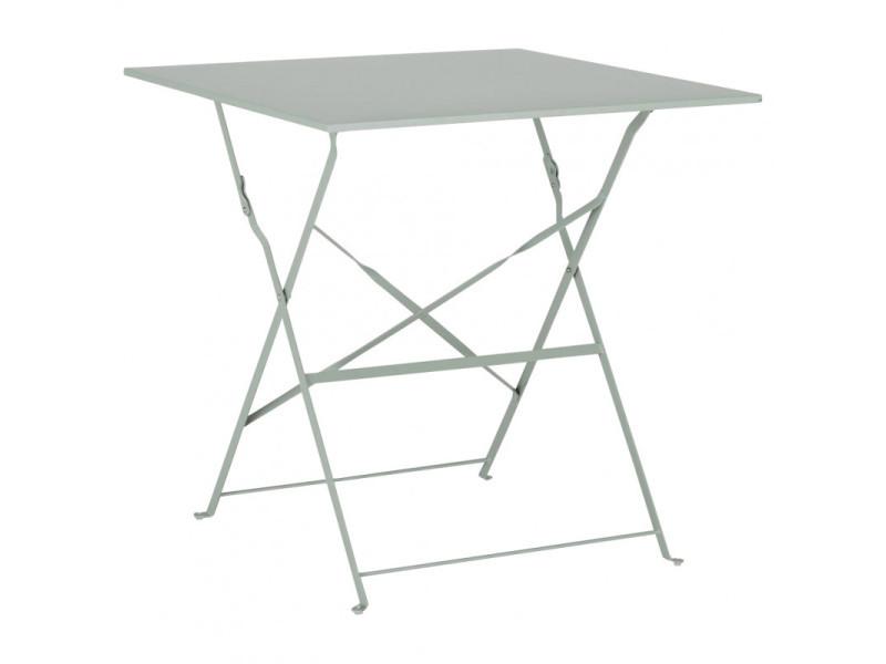 Table de jardin pliante en métal vert h71 x l70 x p70 cm - cruz 9784
