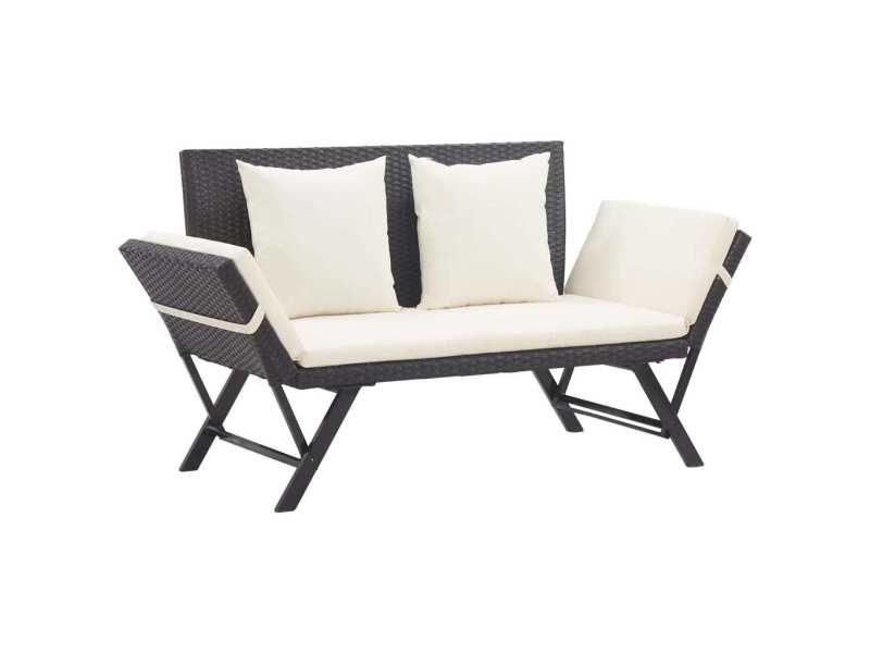 Splendide sièges de jardin collection tallinn banc de jardin avec coussins 176 cm noir résine tressée