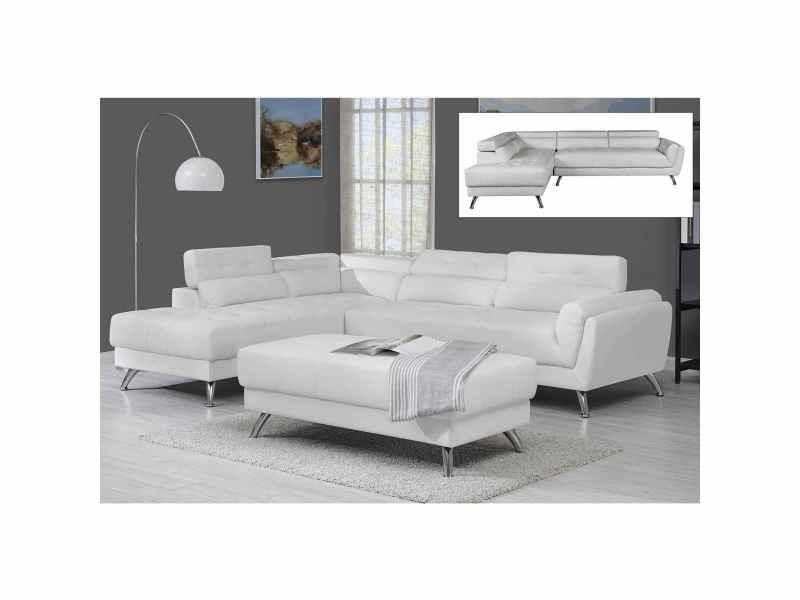 Canapé d'angle capitonné blanc alison - angle gauche