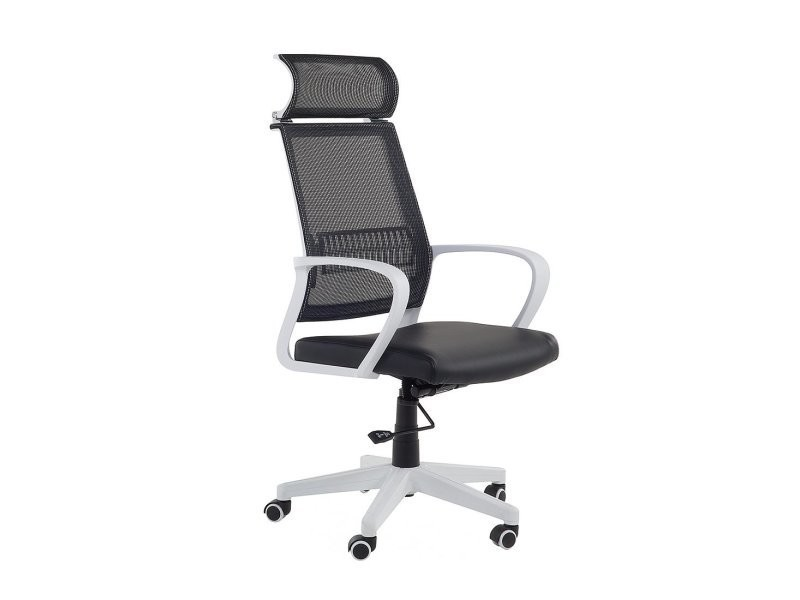 Chaise de bureau design noir blanc leader 31694
