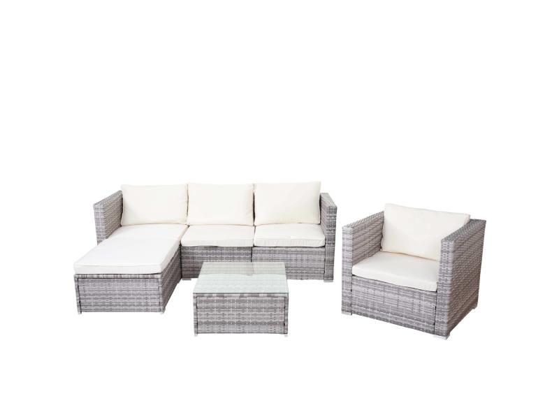 Ensemble de meubles de jardin brescia, poly-rotin ~ gris, coussins crème