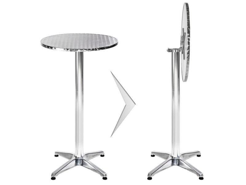 Mange debout aluminium diamètre table 60 cm diamètre pied 6,5 cm pliable hauteur réglable 74/114 cm gris helloshop26 2008195