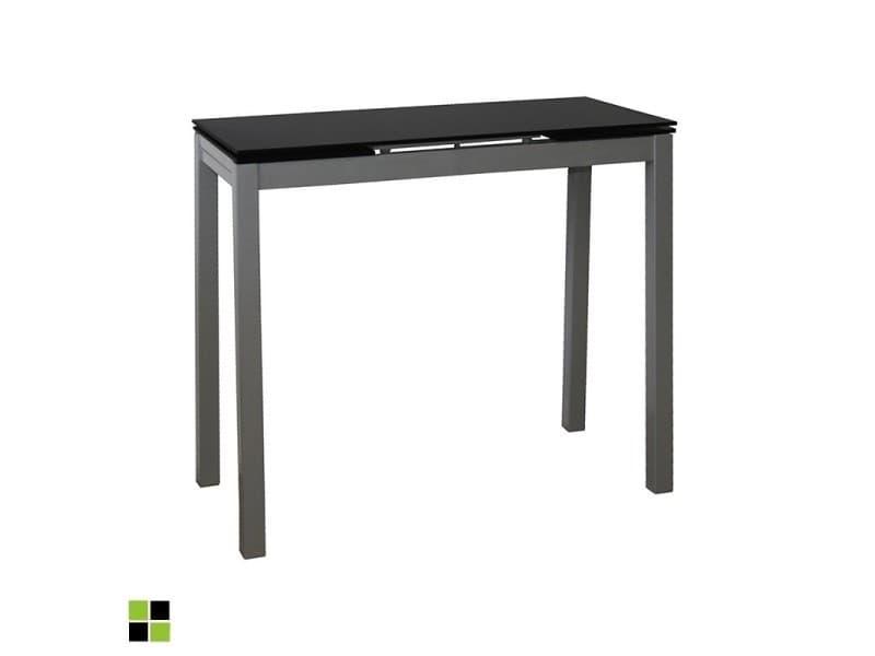 Momma home - Table de cuisine NOVI extensible et rectangulaire avec plateau en verre NOIR. Structure et piètement en métal laqué gris. MOMMA HOME
