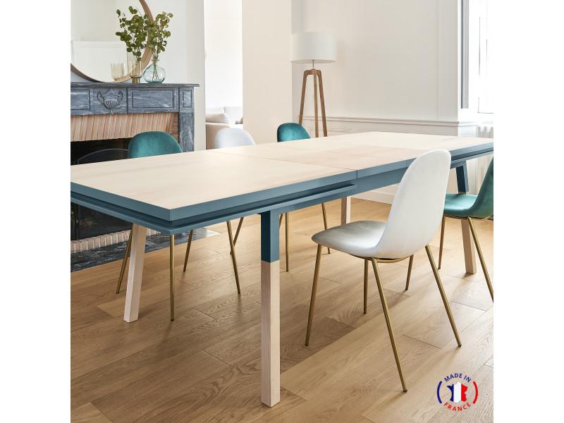 Table extensible bois massif 200x100 cm bleu frehel - 100% fabrication française