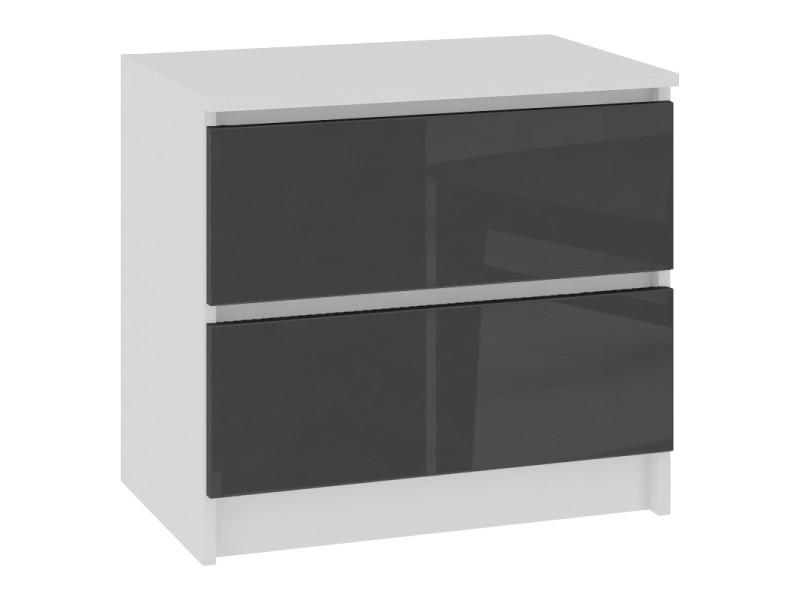 Skandi - table de chevet contemporain chambre 60x55x40 cm - 2 tiroirs larges - design moderne&robuste - table d'appoint - blanc/gris laqué