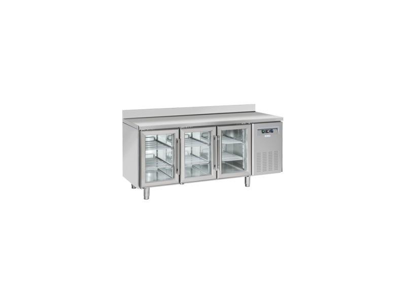 Table réfrigérée positive vitrée 3 portes avec dosseret - profondeur 625 - cool head - r290a 3 portes vitrée