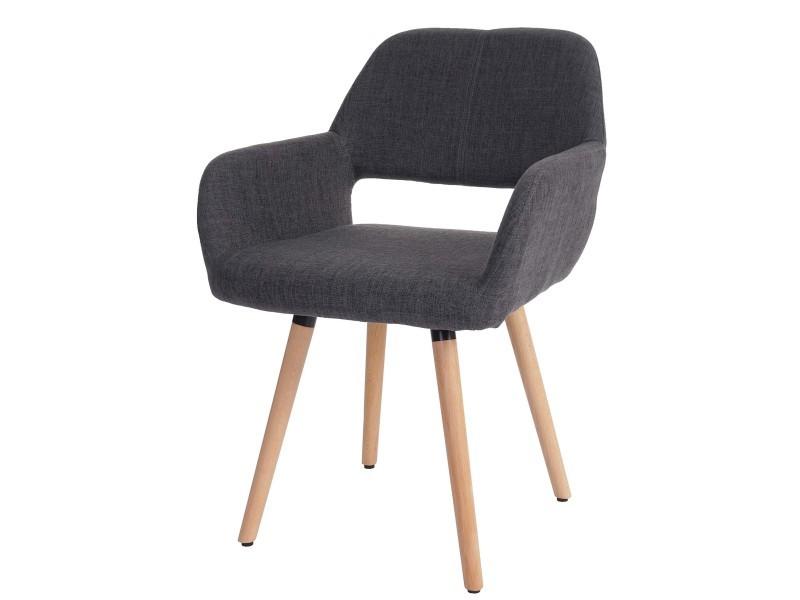 6x chaise de salle à manger altena ii, fauteuil, design rétro des années 50 ~ tissu, gris