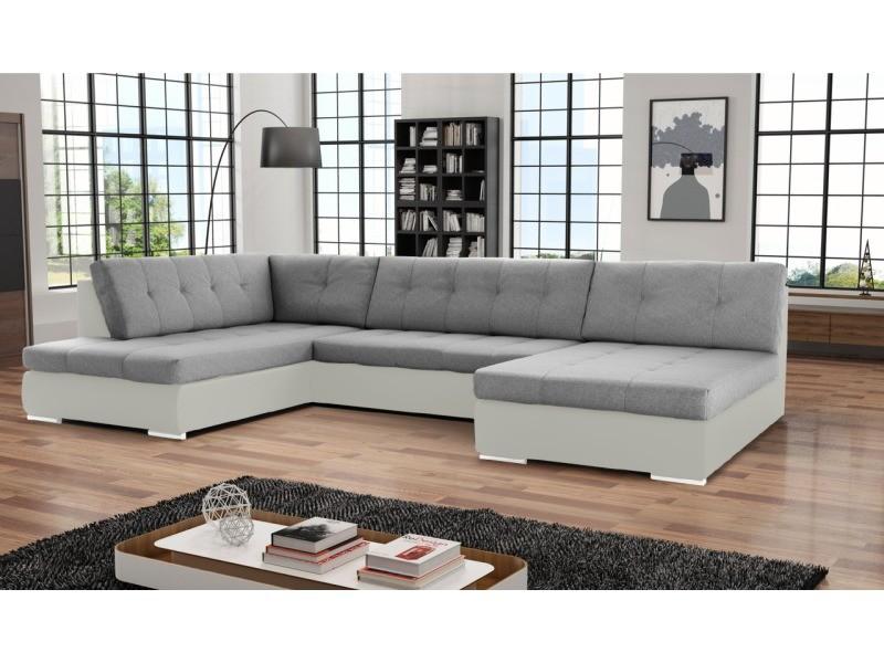 Canapé d'angle convertible panoramique PAOLA. Tissu et simili cuir, gris et blanc