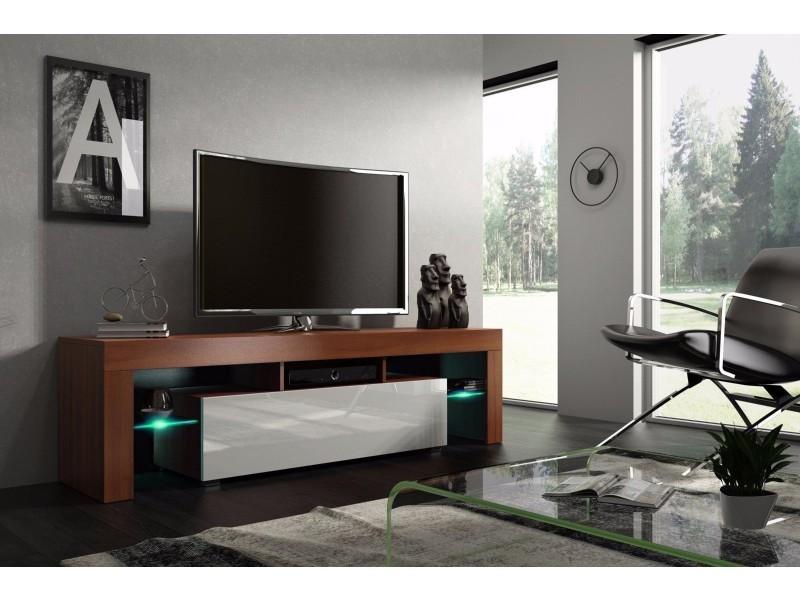Meuble tv 160 cm noyer mdf et blanc laqué avec led rgb