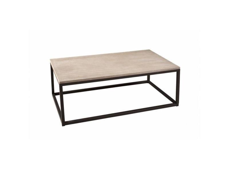 9987166eebd9a1 Table basse industrielle rectangulaire 115 x 65 cm lea en bois de paulownia  et en métal 20100858836 - Conforama