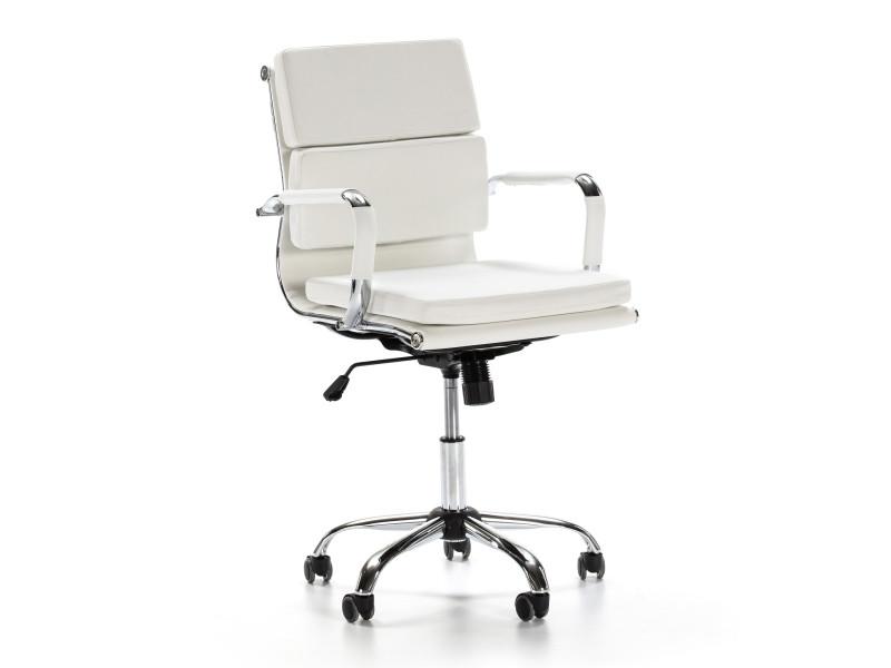 Fauteuil de bureau fenix inclinable blanc, cuir synthétique, chaise executive avec appuie-tête et coussin rembourré, hauteur réglable, design ergonomique. I9087