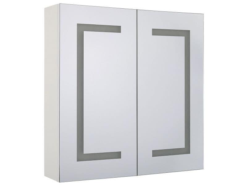 Armoire de toilette blanche avec miroir led 60 x 60 cm mazarredo 234928