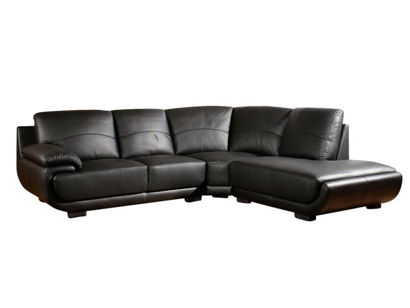 Canapé cuir angle mozart - droit - noir