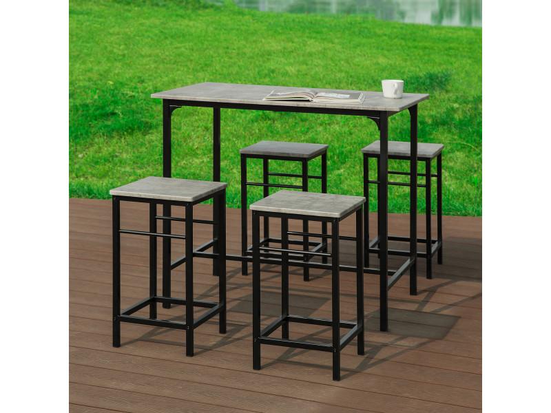 set de 1 table 4 tabourets ensemble table de bar bistrot 4 tabourets avec repose pieds ogt11 hg sobuya
