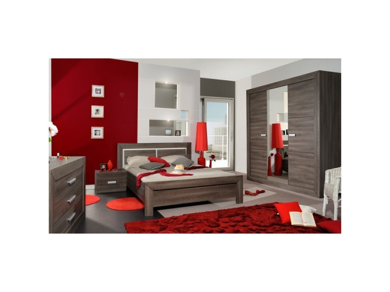 chambre compl te adulte 160 200 gris fonc romeo l 160 x l 200 x h 90 neuf vente de. Black Bedroom Furniture Sets. Home Design Ideas