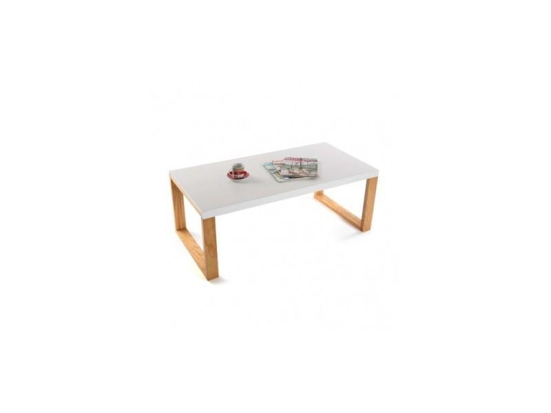 Table Basse Moderne Blanche Et Bois Calabri Vente De Versa Conforama