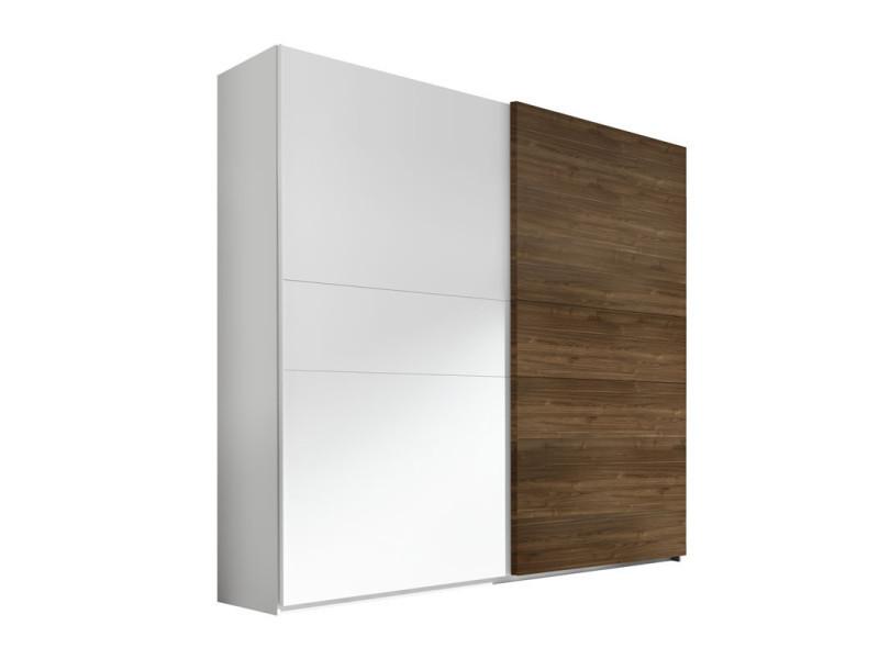 Armoire 2 portes coulissantes blanc/noyer foncé - aniece n°3 - l 275 x l 64 x h 248 - neuf