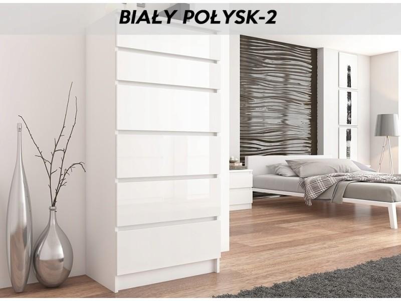 Sofia w2 - commode contemporaine chambre salon bureau - 128x70x40 - dressing 6 tiroirs - meuble de rangement scandinave - blanc laqué