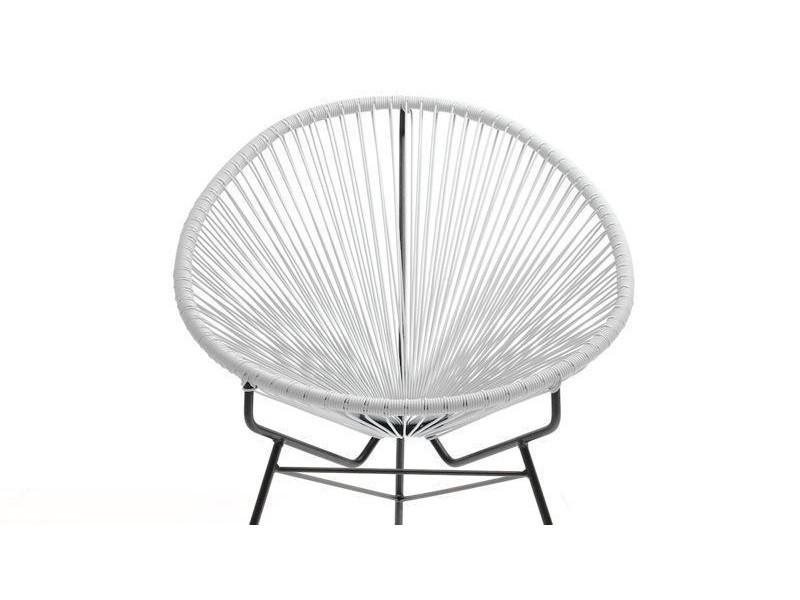fauteuil scoubidou en r sine tres e ronde blanc acapulco vente de delorm conforama. Black Bedroom Furniture Sets. Home Design Ideas