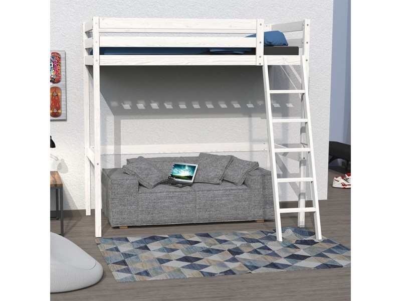 lit mezzanine 140x190 studio 1 sommier blanchi vente. Black Bedroom Furniture Sets. Home Design Ideas