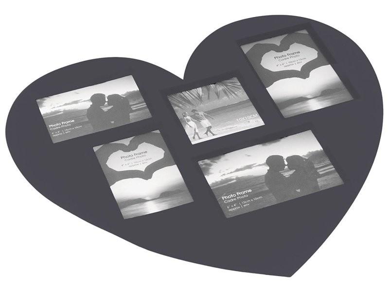 Set de table cadre photos coeur noir 45 x 41 cm