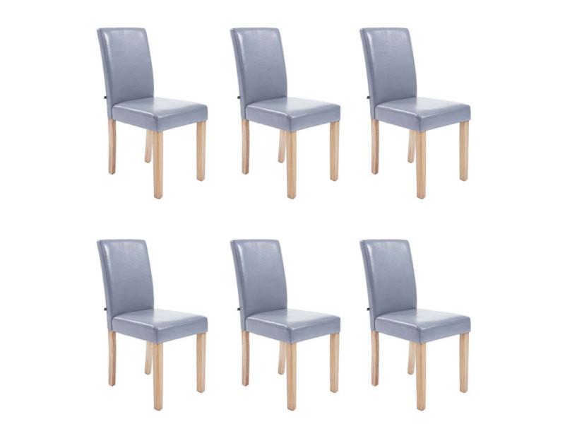 Lot de 6 chaises de salle à manger en simili cuir bois naturel, assise gris mya