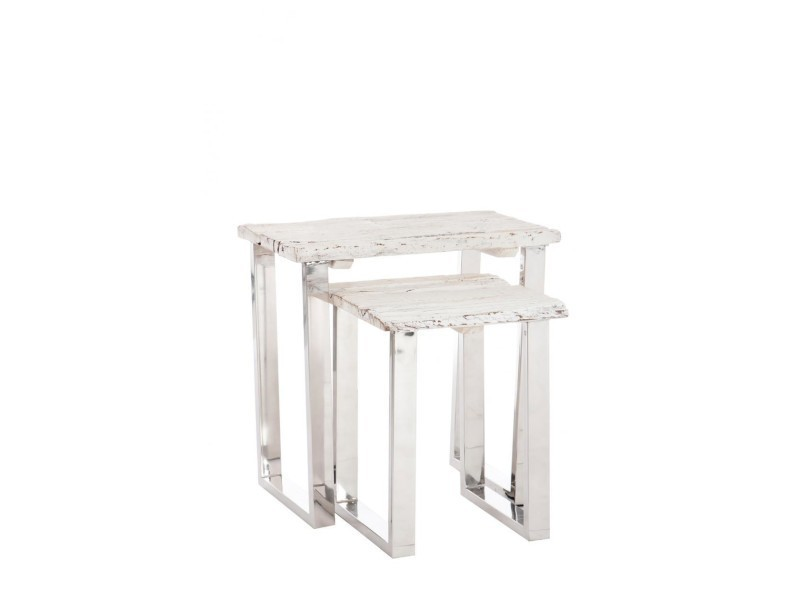 Table gigogne met/bs blanc - 1 pièce modele l A51909