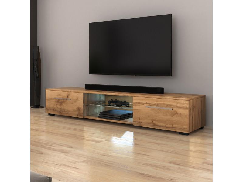 Meuble tv - syvis - 140 cm - chêne wotan - led