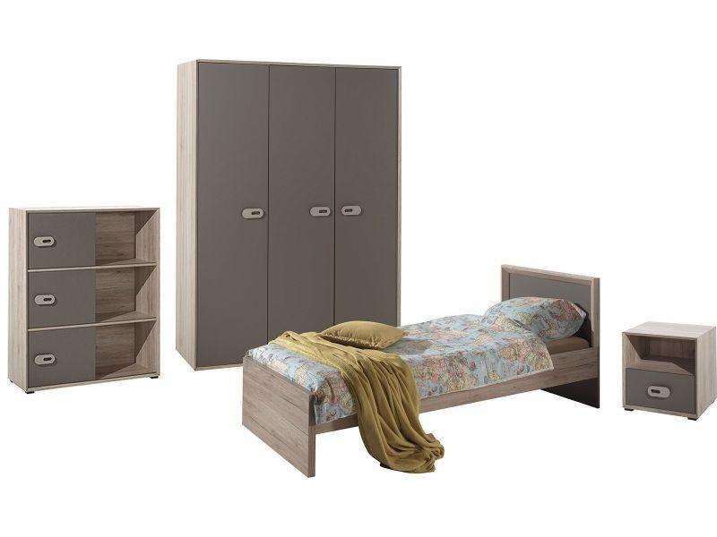 Ensemble complet 4 pièces pour chambre moderne avec lit 90x200 cm ...