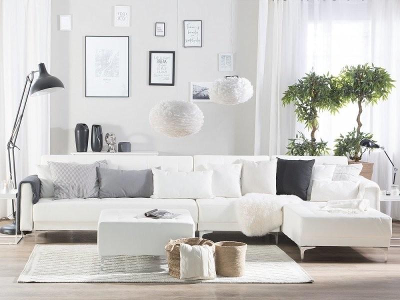 Canapé angle gauche convertible simili-cuir blanc 5 places avec pouf aberdeen 150490