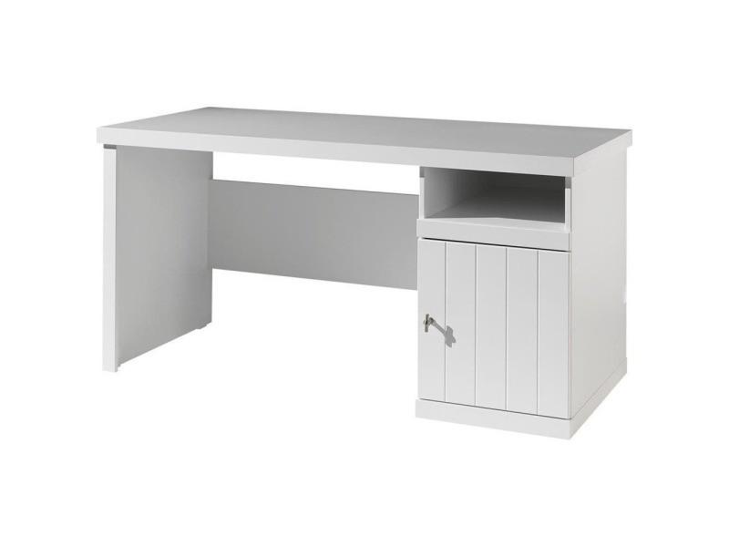 Bureau enfant woody blanc laqué 150 cm - 75 cm - blanc laqué ROBU1614
