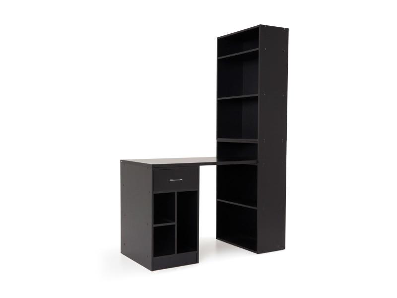 Bureau en bois noir avec étagères et tiroir presto conforama