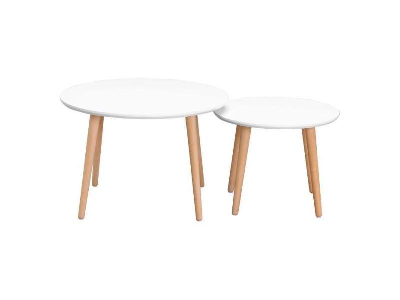 Table gigogne 2 tables basses gigognes rondes inkeri scandinave - blanc mat - ø60 cm et ø40 cm