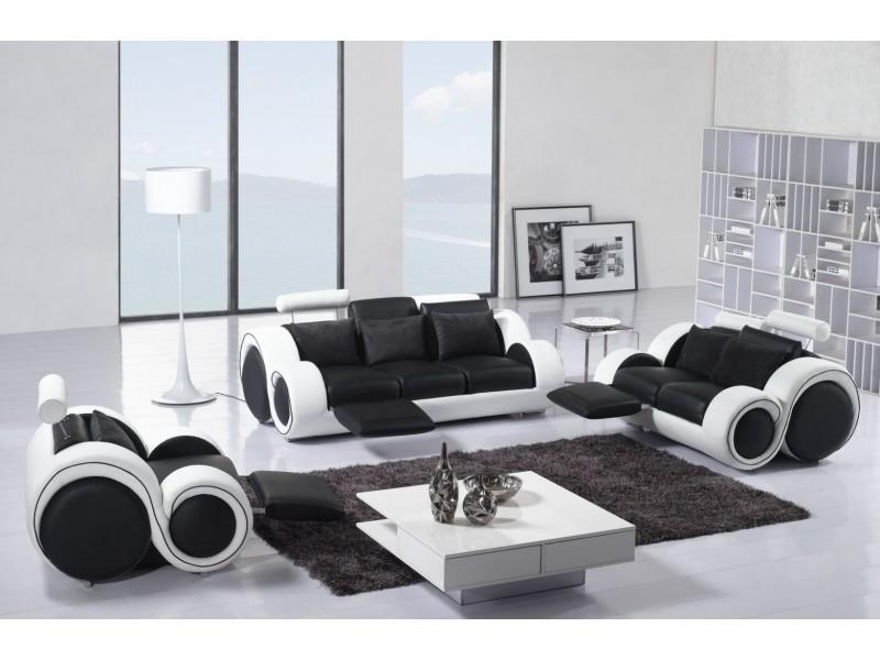 Ensemble cuir relax oslo 3+2+1 places noir et blanc-