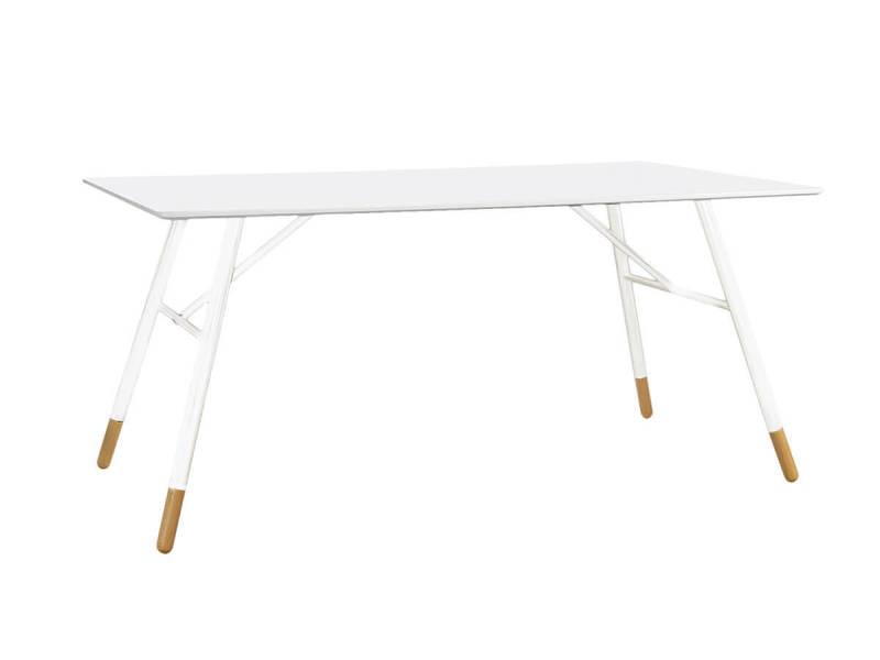 Table rectangulaire laqué blanc 160 cm scandie - /blanc - /blanc HOPEN-TR160