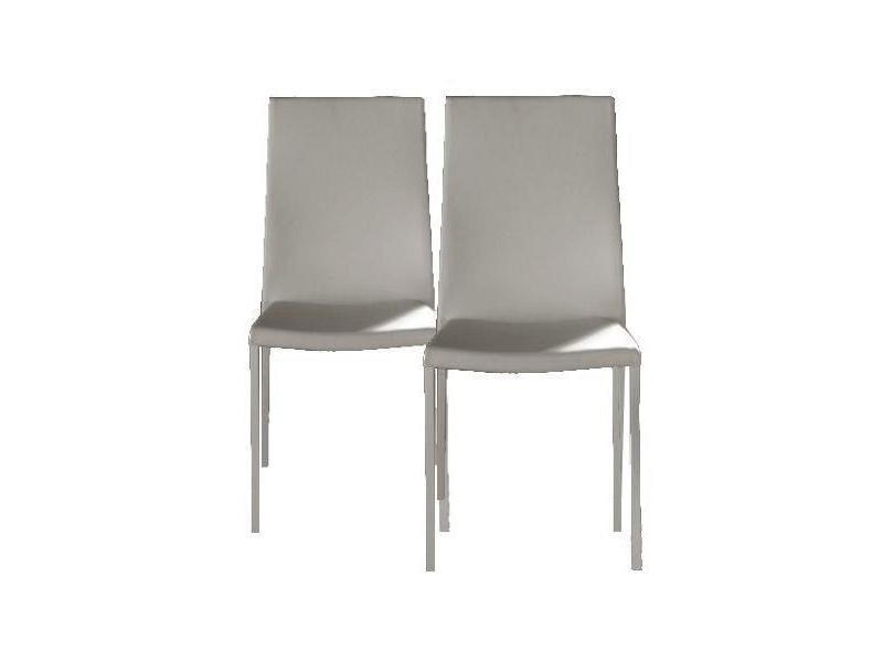 Lot de 2 chaises design hellen revêtement polyuréthane façon cuir blanc et acier blanc 20100836643