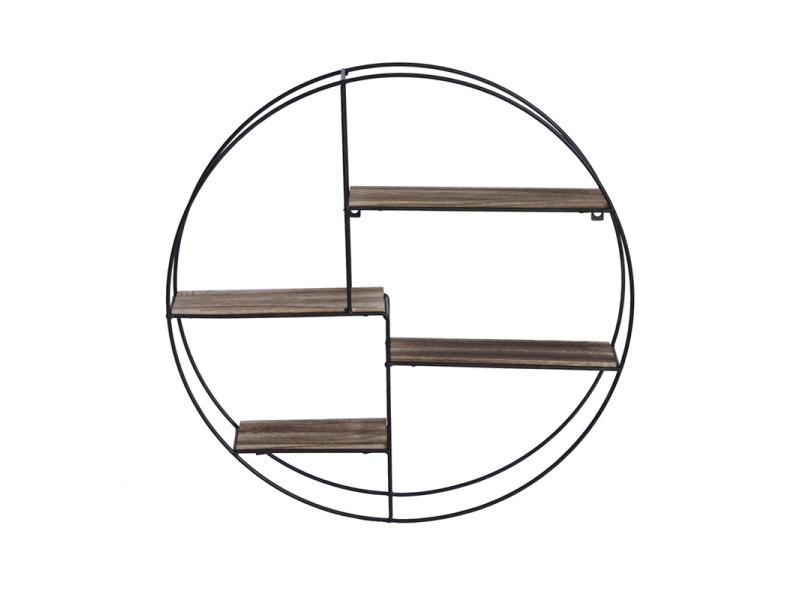 Hombuy® etagère murale ronde 4 niveaux bois et métal design industriel 55*10*55cm