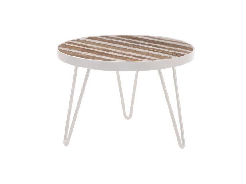 Table D Appoint Ronde Bois Et Metal Blanc 50x35 Rochelle Vente