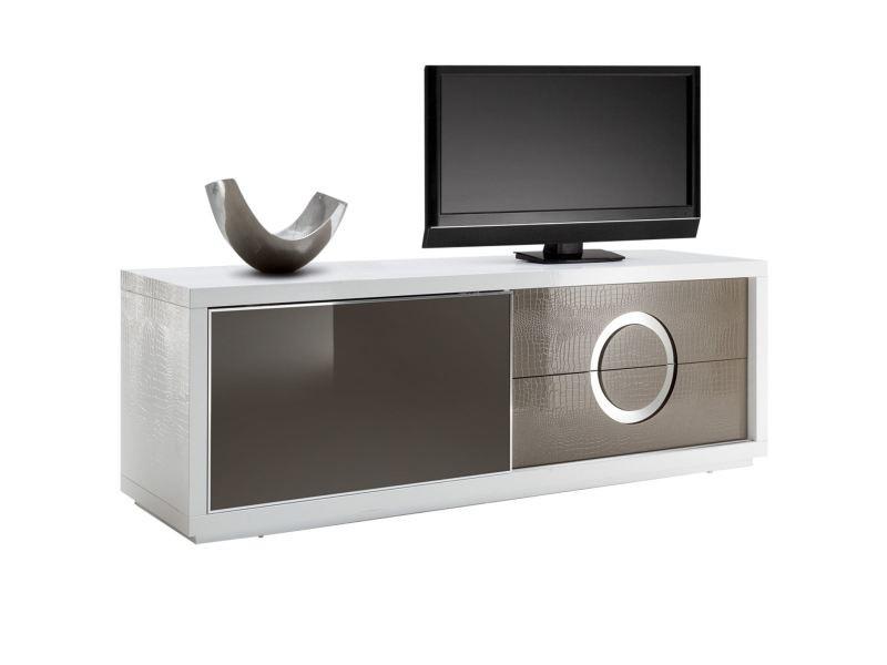 Meuble tv acapulco banc télévision 1 porte coulissante en verre et 2 tiroirs, mdf effet crocodile de coloris blanc et cappuccino