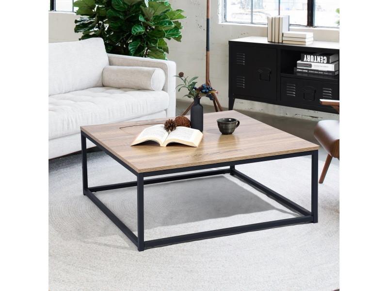 Table basse carrée bois foncé / noir