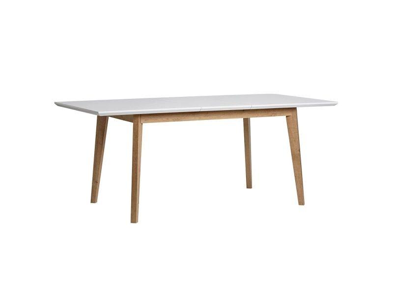 Rune - table repas extensible aspect chêne et blanc