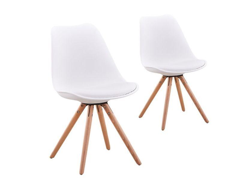 lot de 2 chaises scandinaves loop avec coussin et pieds bois couleur blanc a80262bl vente de chaise conforama - Chaises Scandinaves Couleur