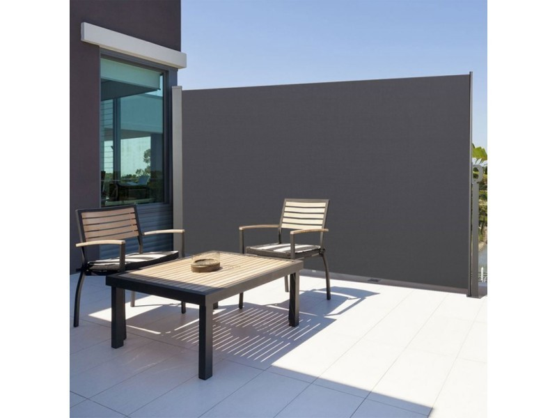 paravent ext rieur r tractable 300x160cm gris anthracite store vertical vente de id market. Black Bedroom Furniture Sets. Home Design Ideas