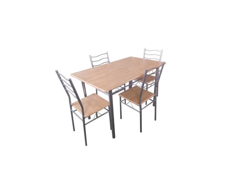 Table de cuisine et salle à manger + 4 chaises baremen. Coloris bois naturel et gris. Ensemble repas design métal et bois