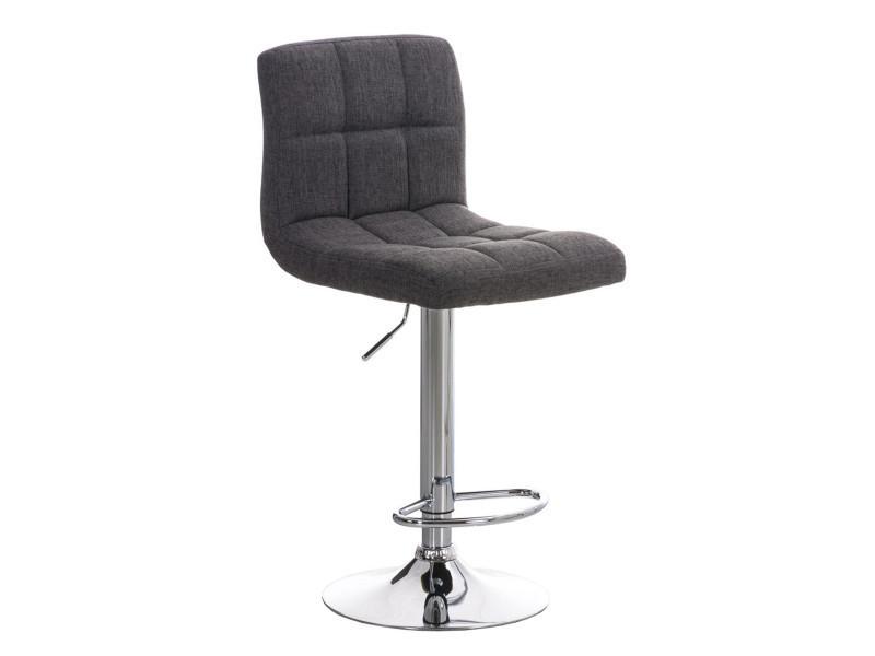 Tabouret de bar en métal avec siège en tissu gris - 94-116 x 44 x 46 cm - pegane -