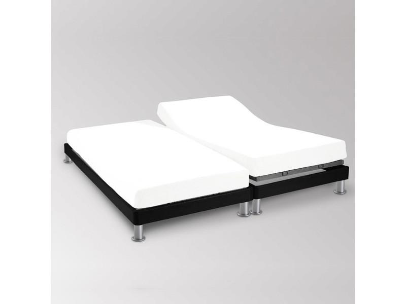 Drap housse double 2x80x200cm blanc 100% coton 57 fils/cm²